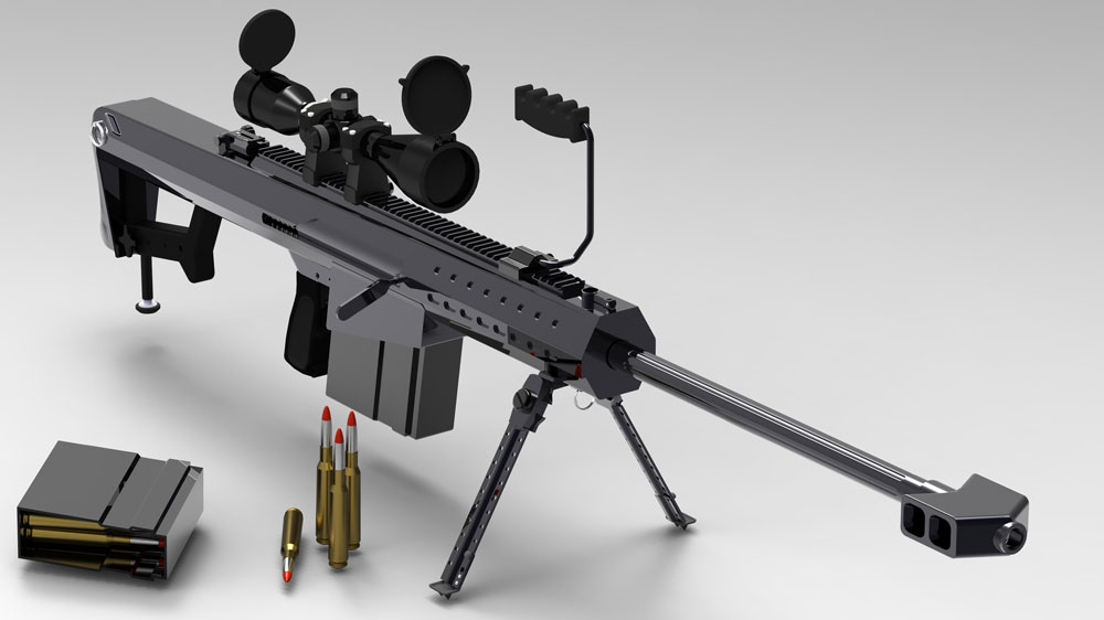 دانلود پروژه طراحی اسلحه تک تیرانداز برت Barrett M107