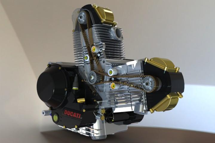 موتور خودرو دوقلو ال شکل دوکاتی 900 سی سی ducati 900cc air cooled L twin engine