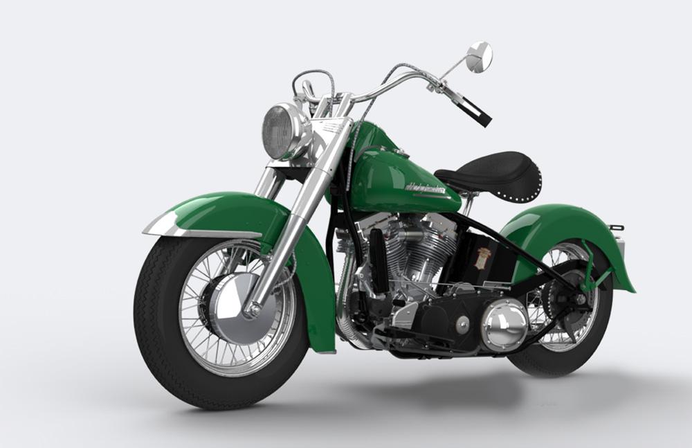 دانلود پروژه طراحی موتورسیکلت کلاسیک هارلی دیویدسن Harley Davidson 1952 (2)