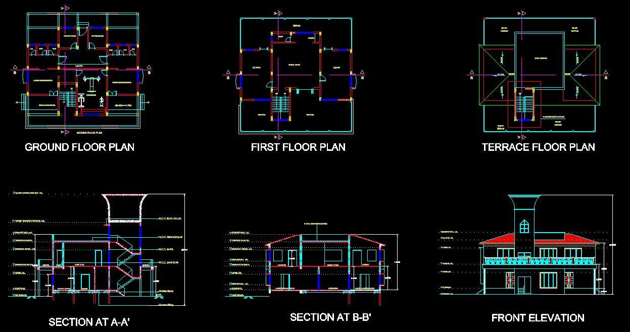 دانلود پروژه طراحی نقشه و پلان باشگاه ورزشی دو طبقه
