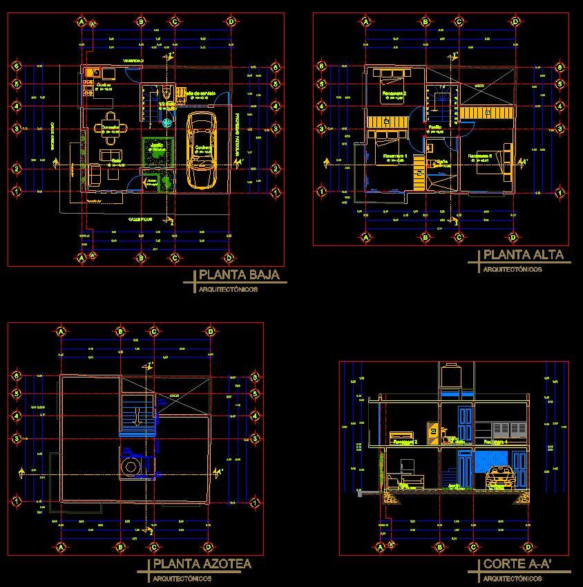 دانلود پروژه طراحی نقشه و پلان خانه ویلایی دو طبقه (6)