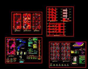 دانلود پروژه طراحی نقشه و پلان آپارتمان چهار طبقه (2)+نقشه برق و لوله کشی