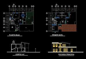دانلود پروژه طراحی نقشه و پلان اقامتگاه دو طبقه (2)
