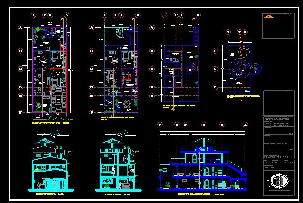 دانلود پروژه طراحی نقشه و پلان خانه اشرافی (2) + نقشه برق و لوله کشی