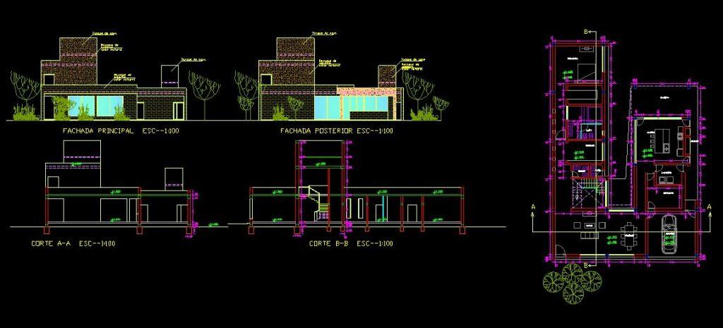 دانلود پروژه طراحی نقشه و پلان خانه دو طبقه ویلایی (10)