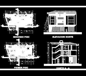 دانلود پروژه طراحی نقشه و پلان خانه شیروانی سه طبقه
