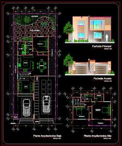 دانلود پروژه طراحی نقشه و پلان خانه ویلایی دو طبقه + تراس و دو پارکینگ (11)