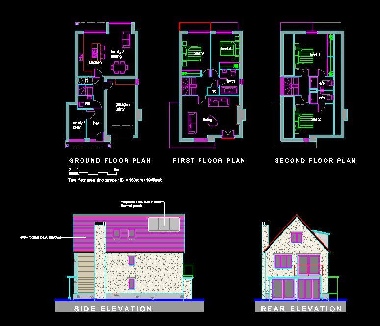 دانلود پروژه طراحی نقشه و پلان خانه ویلایی شیروانی دو طبقه (16)