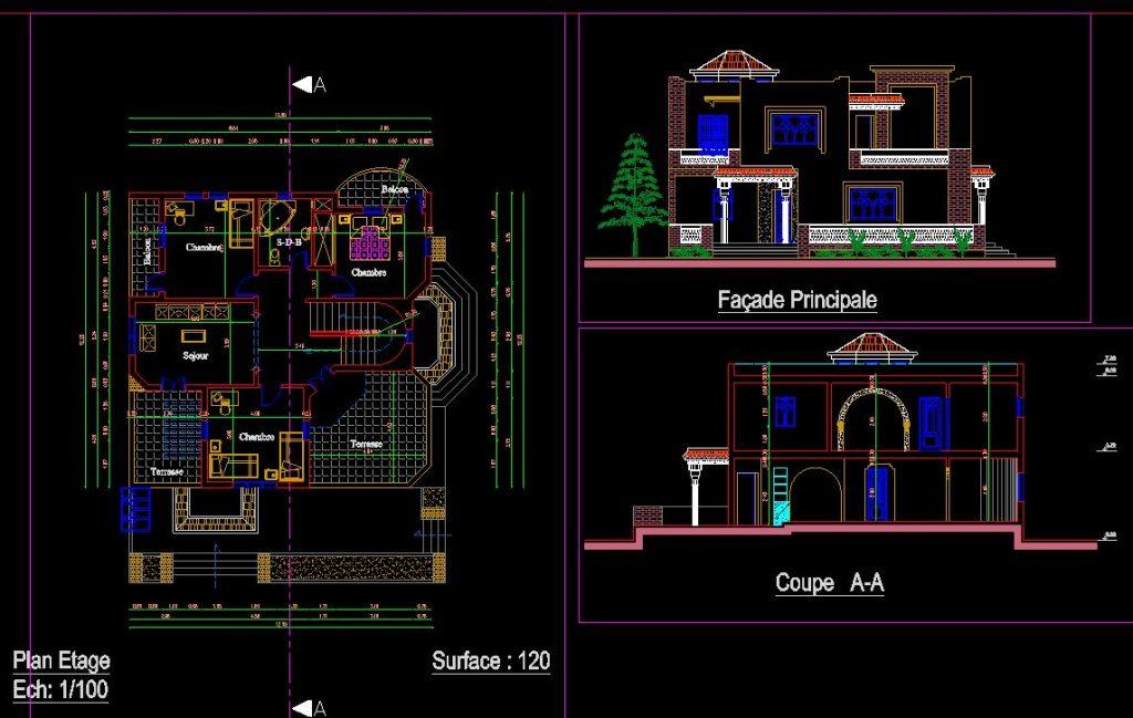 دانلود پروژه طراحی نقشه و پلان خانه ییلاقی مدرن (2)