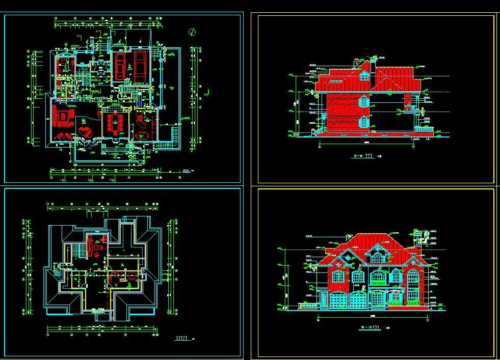 دانلود پروژه طراحی نقشه و پلان ویلا شیروانی سه طبقه