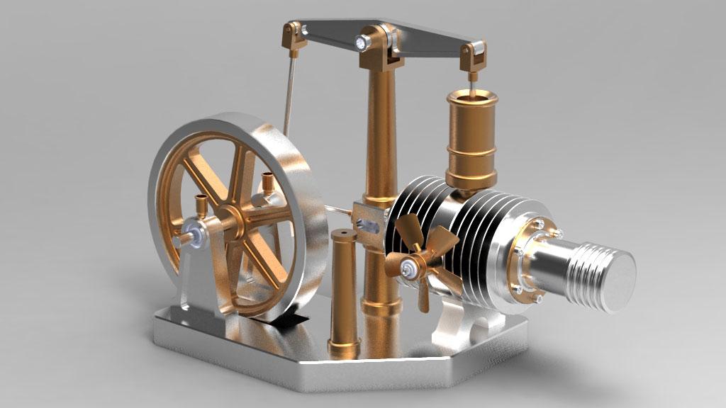 دانلود پروژه طراحی موتور حرارتی استرلینگ Beamer Stirling Engine