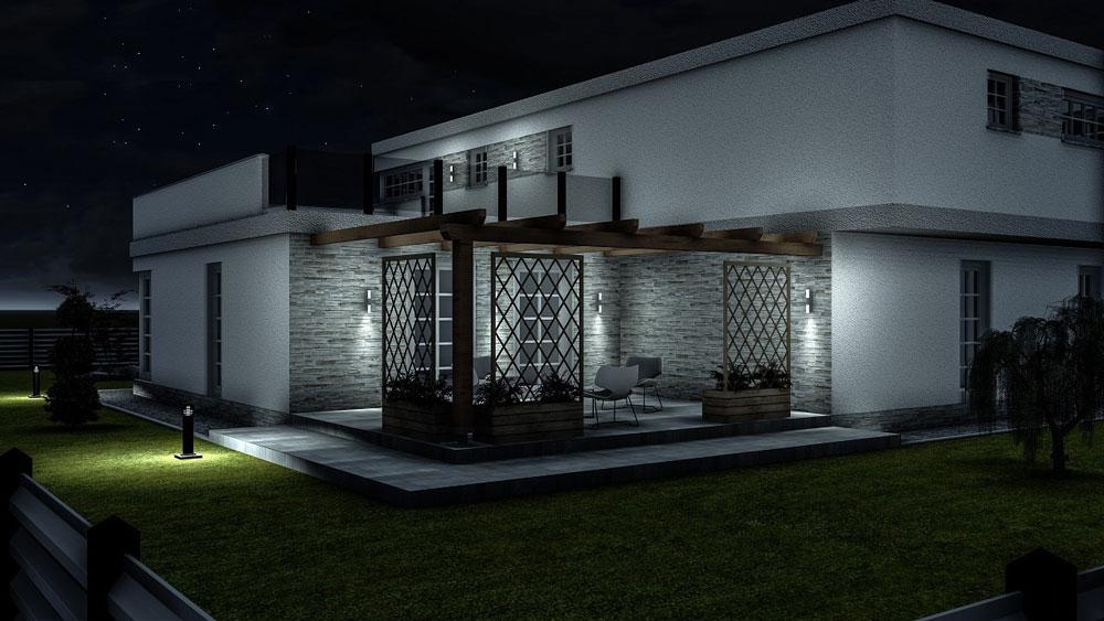 دانلود پروژه طراحی نمای خارجی و محوطه سازی خانه ویلایی مدرن (3)