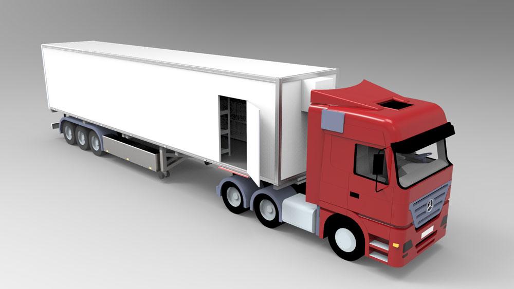 دانلود پروژه طراحی کامیون با تریلر یخچال دار (2)