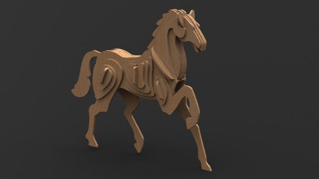 دانلود پروژه طراحی اسب چوبی پازلی