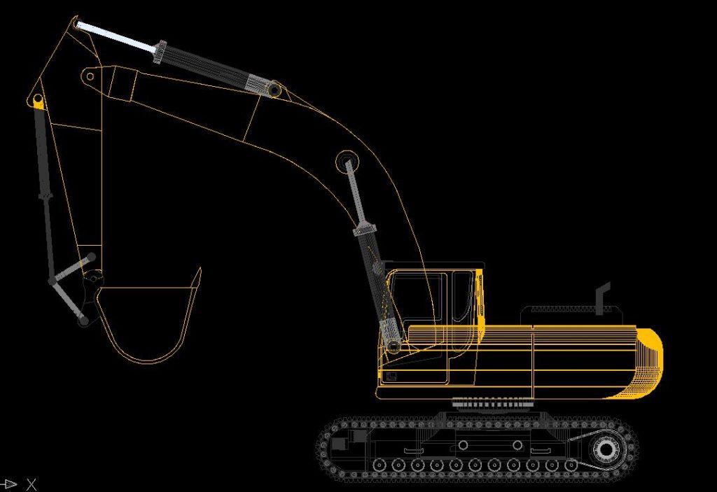 دانلود پروژه طراحی بیل مکانیکی چرخ زنجیری شنی کاترپیلار CAT (1)