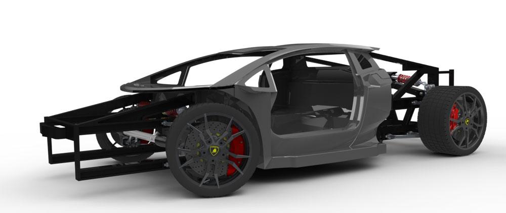 دانلود پروژه طراحی شاسی و اتاق خودرو لامبورگینی اونتادور (1)