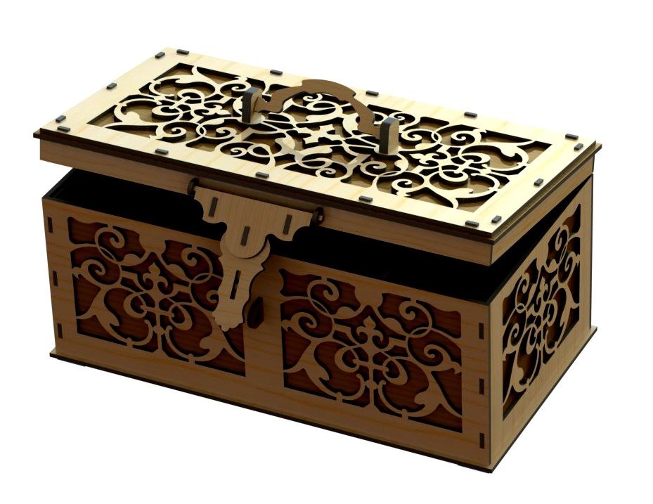 دانلود پروژه طراحی جعبه (صندوقچه) معرق چوبی تزیینی + نقشه اتصالات Wooden decorative box