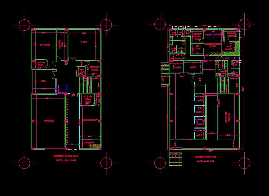 دانلود پروژه طراحی نقشه , پلان و نمای خارجی بیمارستان مدرن (2)