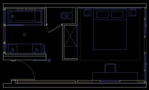 دانلود پروژه طراحی نقشه و پلان اتاق هتل , سوئیت