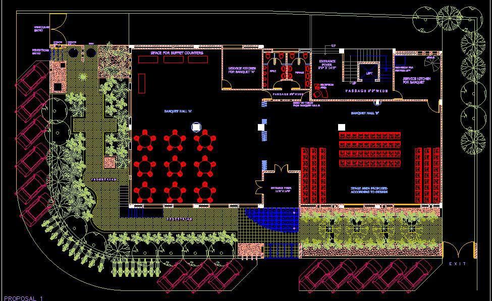 دانلود پروژه طراحی نقشه و پلان رستوران مدرن