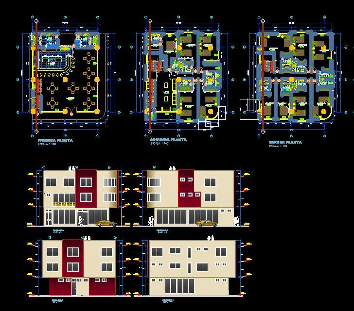 دانلود پروژه طراحی نقشه و پلان هتل رستوران کوچک