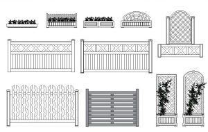 دانلود پروژه طراحی انواع گلدان , باغچه , نرده و حفاظ چوبی ویلایی