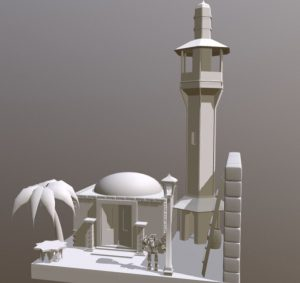 دانلود پروژه طراحی مسجد سنتی کوچک +گنبد گلدسته درخت