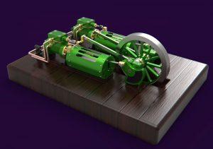 دانلود پروژه طراحی موتور بخار افقی دوقلو