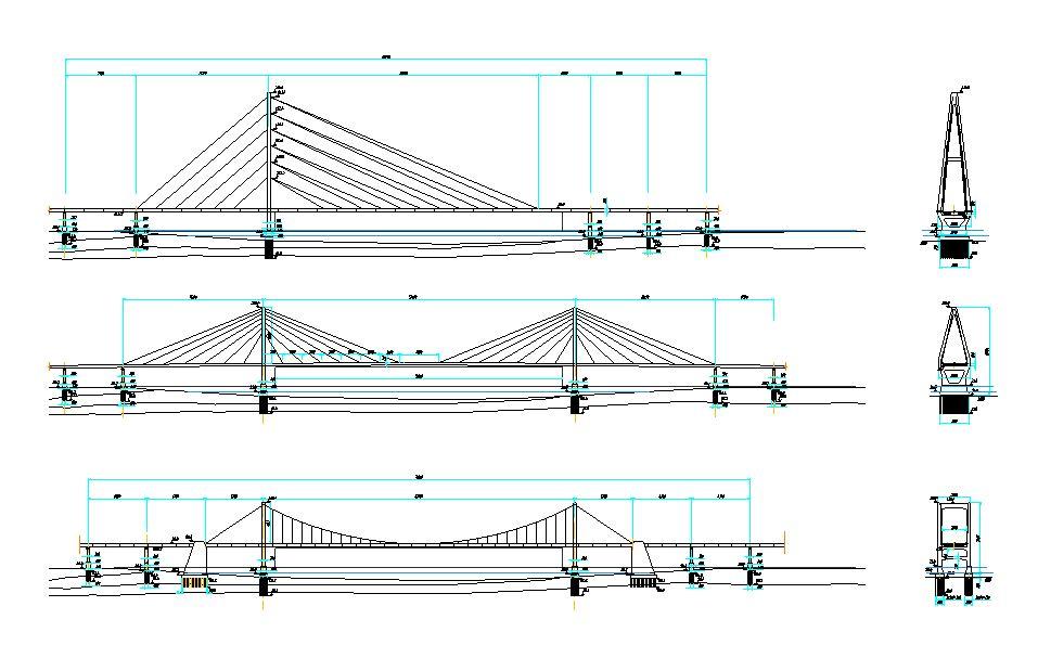 دانلود پروژه طراحی نقشه سه نوع پل کابلی
