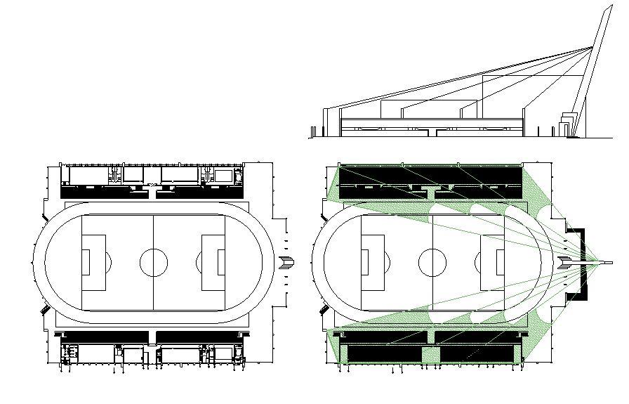 دانلود پروژه طراحی نقشه و پلان استادیوم فوتبال