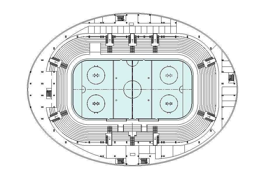 دانلود پروژه طراحی نقشه و پلان استادیوم هاکی
