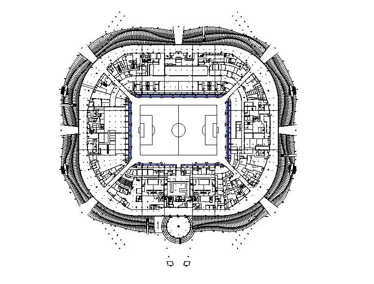 دانلود پروژه طراحی نقشه و پلان استادیوم 4 طبقه مدرن فوتبال