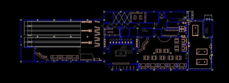دانلود پروژه طراحی نقشه و پلان باشگاه بولینگ و بیلیارد
