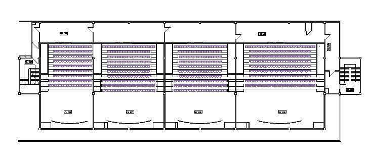 دانلود پروژه طراحی نقشه و پلان سالن سینما 4 سانس همزمان