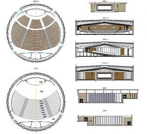 دانلود پروژه طراحی نقشه و پلان سالن کنسرت و تئاتر