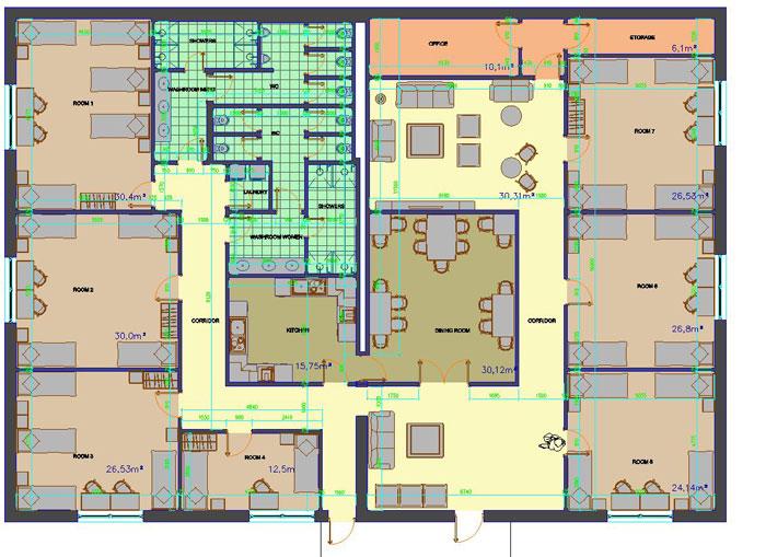 دانلود پروژه طراحی نقشه و پلان مسافرخانه (هاستل)