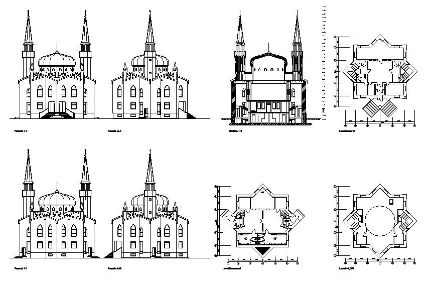 دانلود پروژه طراحی نقشه و پلان مسجد بزرگ با گنبد و گلدسته