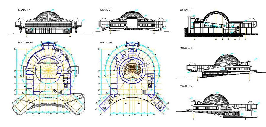 دانلود پروژه طراحی نقشه و پلان پلانتاریوم (آسماننما)