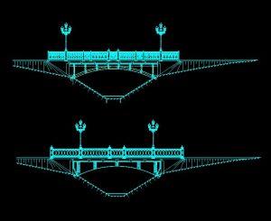 دانلود پروژه طراحی نقشه و پلان پل قوسی با نرده های فرفوژه