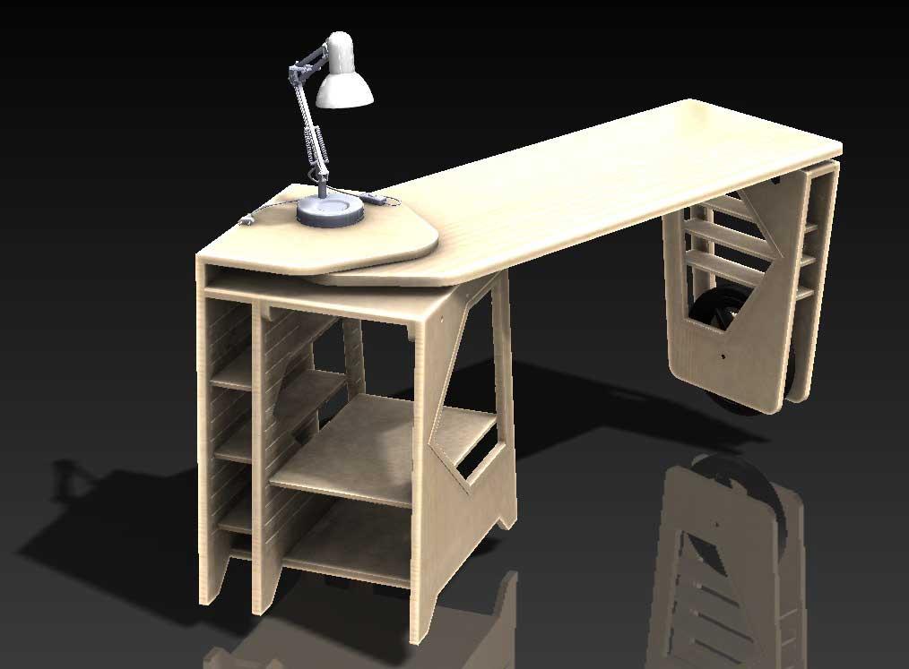 دانلود پروژه طراحی میز مطالعه گردان