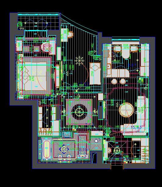 دانلود پروژه طراحی نقشه و پلان خانه دو خوابه