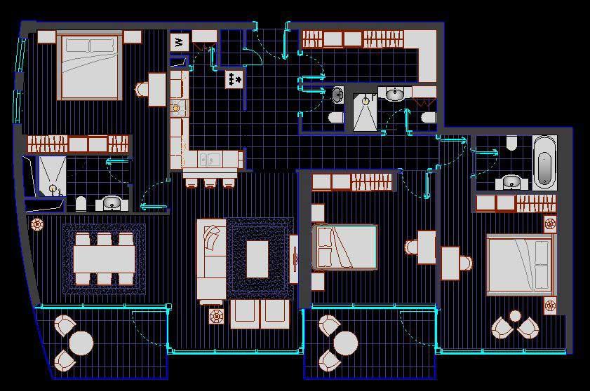 دانلود پروژه طراحی نقشه و پلان خانه سه خوابه لوکس