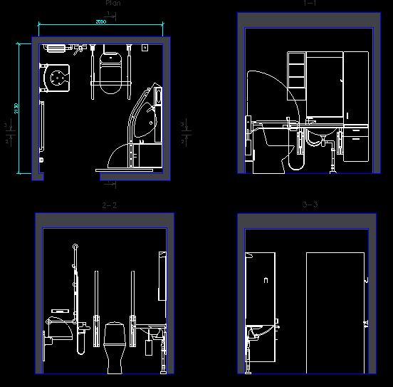 دانلود پروژه طراحی نقشه و پلان سرویس بهداشتی (توالت) معلولین