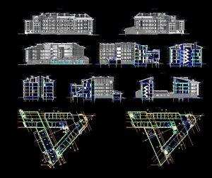 دانلود پروژه طراحی نقشه و پلان مجتمع اداری مدرن