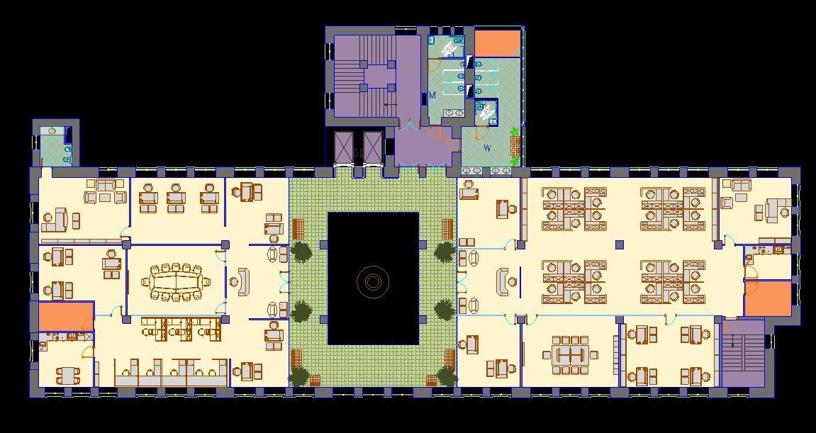 دانلود پروژه طراحی نقشه و پلان دفتر کار چند اتاقه بزرگ