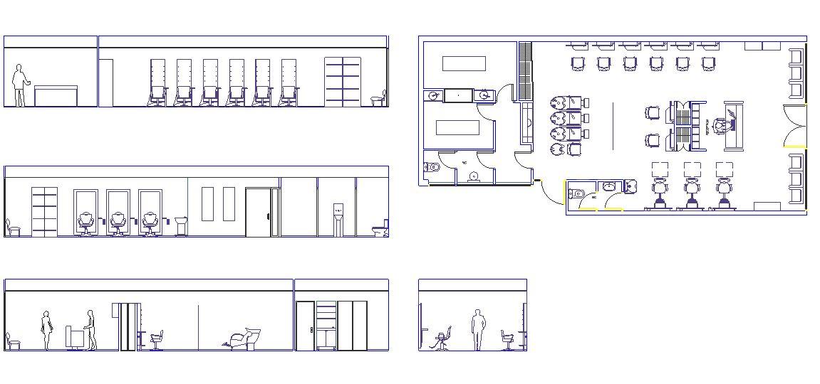 دانلود پروژه طراحی نقشه و پلان سالن آرایشگاه و پیرایشگاه مدرن