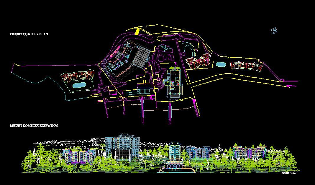 دانلود پروژه طراحی نقشه و پلان مجموعه تفریحی کوهستان