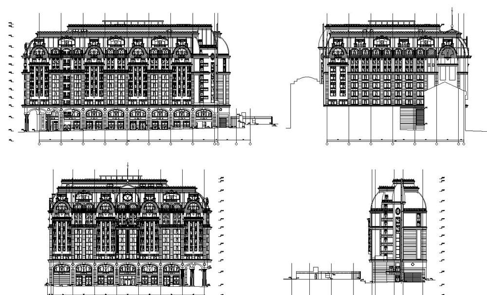 دانلود پروژه طراحی نقشه و پلان نمای خارجی هتل کلاسیک