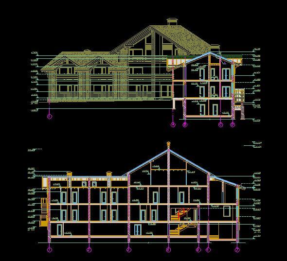 دانلود پروژه طراحی نقشه و پلان هتل چوبی