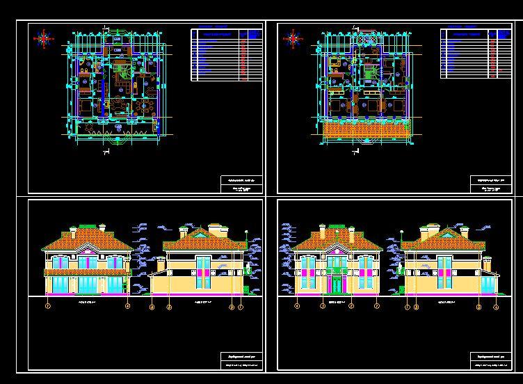 دانلود پروژه طراحی نقشه و پلان خانه ویلایی بزرگ (پر جمعیت) دو طبقه